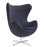 Fine Mod Imports Arne Jacobsen Egg Chair In Charcoal Black Wool