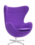 Fine Mod Imports Arne Jacobsen Egg Chair In Charcoal Purple Wool