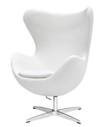 Fine Mod Imports Arne Jacobsen Egg Chair In White Wool