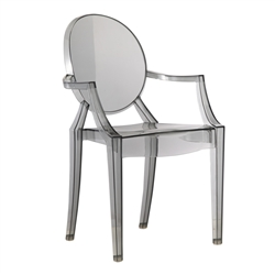 Fine Mod Imports Philippe Starck Style Louis Ghost Arm Chair - Smoke Color
