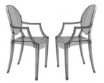 Fine Mod Imports Philippe Starck Style Louis Ghost Arm Chair - Smoke Color Set Of 2