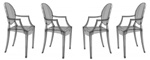 Fine Mod Imports Philippe Starck Style Louis Ghost Arm Chair - Smoke Color Set Of 4