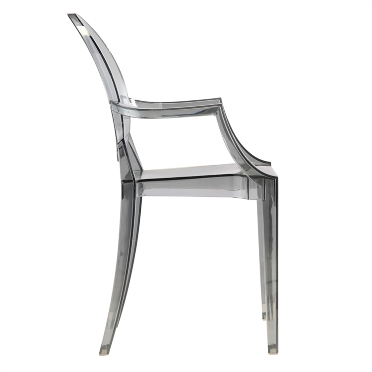 Beau Fine Mod Imports Philippe Starck Style Louis Ghost Arm Chair   Smoke Color  Set Of 4