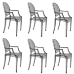 Fine Mod Imports Philippe Starck Style Louis Ghost Arm Chair - Smoke Color Set Of 6