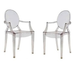 Fine Mod Imports Philippe Starck Style Louis Ghost Arm Chair Set Of 2