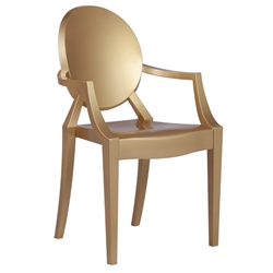 Fine Mod Imports Philippe Starck Style Louis Ghost Arm Chair, Gold