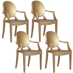 Fine Mod Imports Philippe Starck Style Louis Ghost Arm Chair Set Of 4 Gold