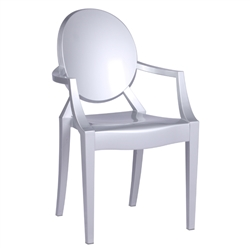 Fine Mod Imports Philippe Starck Style Louis Ghost Arm Chair, Silver