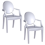 Fine Mod Imports Philippe Starck Style Louis Ghost Arm Chair Set Of 2 Silver