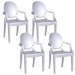 Fine Mod Imports Philippe Starck Style Louis Ghost Arm Chair Set Of 4 Silver