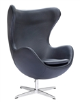 Fine Mod Imports Arne Jacobsen Egg Chair In Black Leather