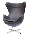 Fine Mod Imports Arne Jacobsen Egg Chair In Dark Brown Leather