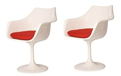 Fine Mod Imports Eero Saarinen Style Tulip Tulip Arm Chair Set Of 2
