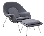Fine Mod Imports Eero Saarinen Style Womb Chair and Ottoman Set Dark Gray Wool