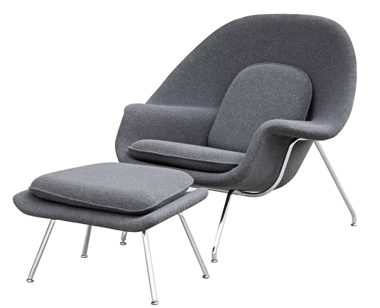 Exceptionnel Fine Mod Imports Eero Saarinen Style Womb Chair And Ottoman Set Dark Gray  Wool