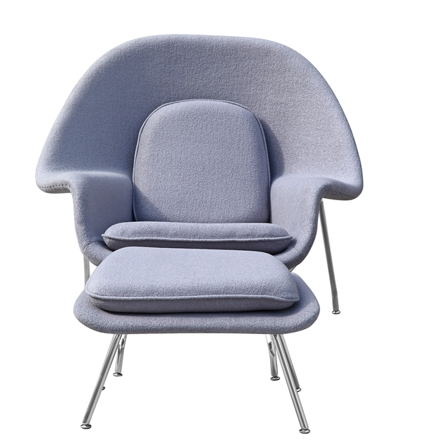fine mod imports eero saarinen style womb chair and ottoman set light gray wool
