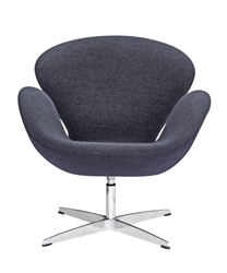Fine Mod Imports Arne Jacobsen Swan Chair In Black Wool