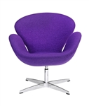 Fine Mod Imports Arne Jacobsen Swan Chair In Purple Wool