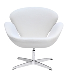 Fine Mod Imports Arne Jacobsen Swan Chair In White Wool