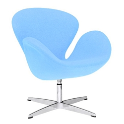 Fine Mod Imports Arne Jacobsen Swan Chair In Light Blue Wool
