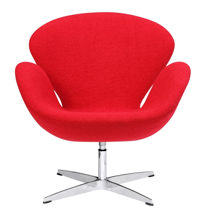 fine mod imports arne jacobsen swan chair in red wool
