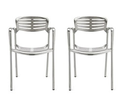 Fine Mod Imports Toledo Style Outdoor Aluminum Accent Chair Set Of 2