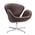 Fine Mod Imports Arne Jacobsen Swan Chair In Dark Brown Leather