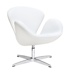 Fine Mod Imports Arne Jacobsen Swan Chair In White Leather