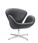 Fine Mod Imports Arne Jacobsen Swan Chair In Black Leather