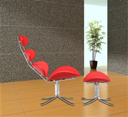 Fine Mod Imports Corona Chair and Ottoman in Red Leather
