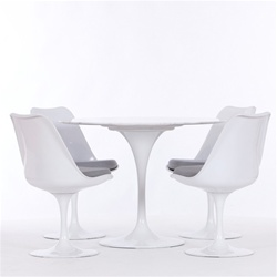"Fine Mod Imports Eero Saarinen Style Tulip Dining Set 48"" Table and 4 Chairs"