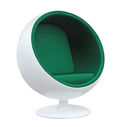 Fine Mod Imports Eero Aarnio Style Ball Chair Green Interior