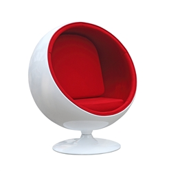 Fine Mod Imports Eero Aarnio Style Ball Chair Red Interior