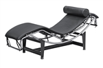 Fine Mod Imports Leather Chaise Lounge LC4 Black Leather