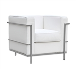 Fine Mod Imports LC2 Arm Lounge chair In White Leather