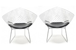 Fine Mod Imports Bertoia Style Wire Diamond Chair Set Of 2