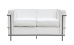 Fine Mod Imports LC2 Petit Loveseat In White Leather