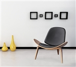 Fine Mod Imports Wegner Shell Chair Black Leather