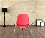 Fine Mod Imports Wegner Shell Chair Red Leather