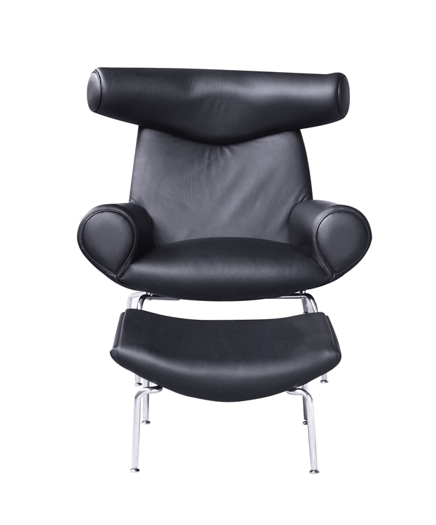 Hans Wegner Ox Chair and Ottoman Black Leather