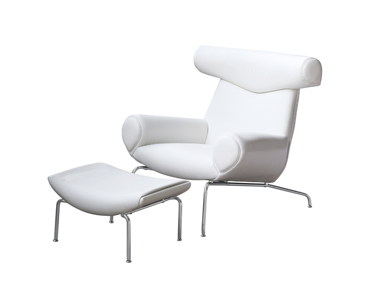 Hans Wegner Ox Chair and Ottoman White Leather