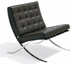 Fine Mod Imports Pavilion Chair and Ottoman in Italian Leather