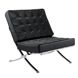 Fine Mod Imports Modern Tufted Pavilion Chair in Italian Leather
