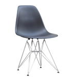 Fine Mod Imports Molded Plastic Side Chair WireLeg Base Black Shell