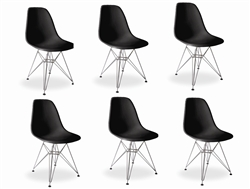 Fine Mod Imports Molded Plastic Side Chair WireLeg Base Black Shell Set Of 6