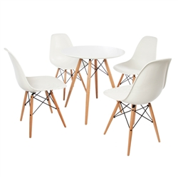 "Fine Mod Imports WoodLeg Set, WoodLeg Dining Table 29"" + 4 WoodLeg Dining Chairs"