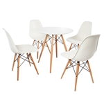 "Fine Mod Imports WoodLeg Set, WoodLeg Dining Table 42"" + 4 WoodLeg Dining Chairs"