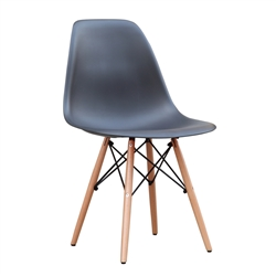 Fine Mod Imports Molded Plastic Side Chair WoodLeg Base in Black