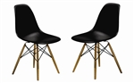 Fine Mod Imports Molded Plastic Side Chair WoodLeg Base in Black Shell Set Of 2