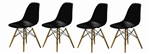 Fine Mod Imports Molded Plastic Side Chair WoodLeg Base in Black Shell Set Of 4